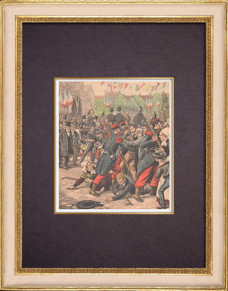 Antique Prints & Drawings | Tréguier Incident - Inauguration of the Renan's statue - Brittany - 1903 | Wood engraving | 1903
