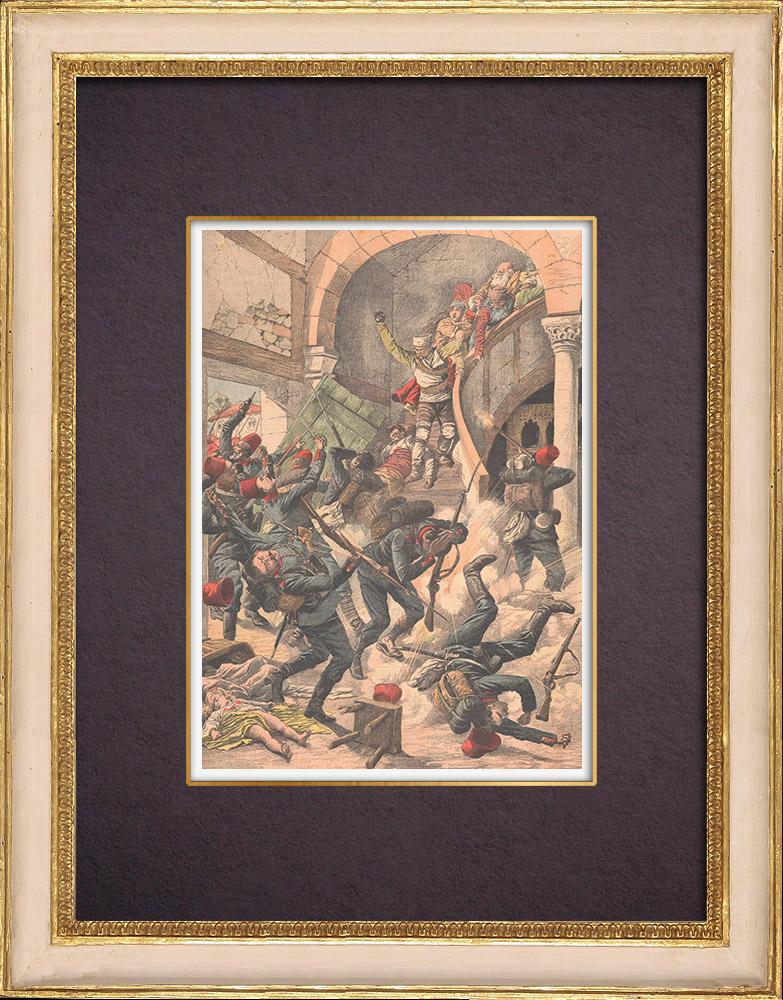 Gravures Anciennes & Dessins | Insurrection en Macédoine - Lutte contre les soldats turcs - 1903 | Gravure sur bois | 1903
