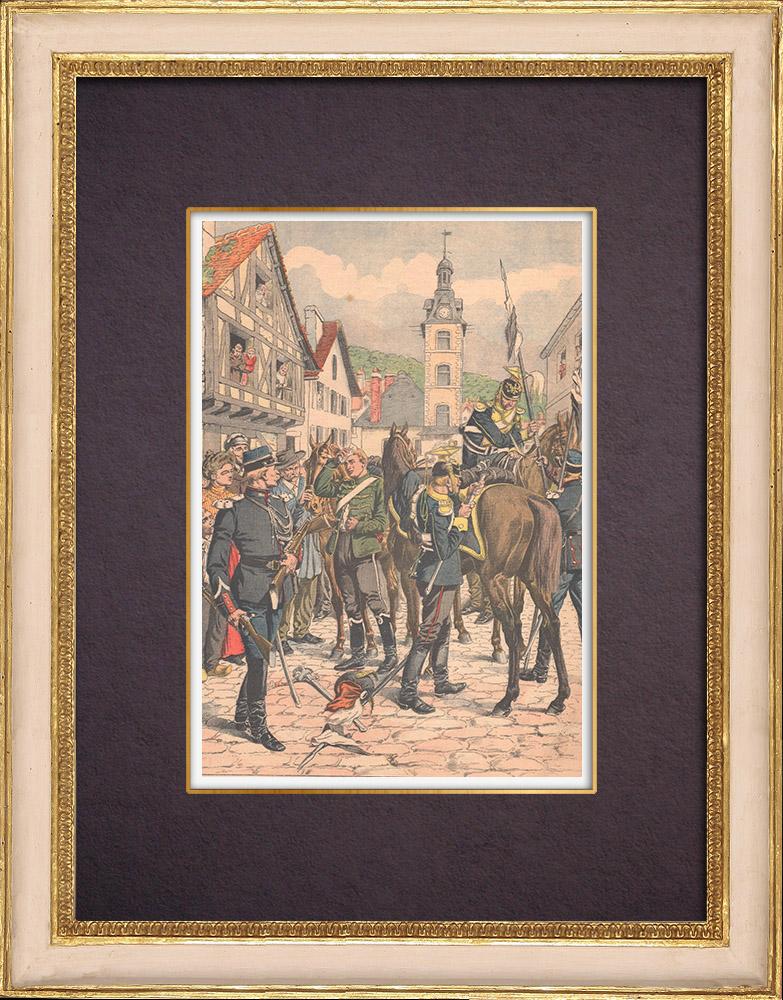 Gravures Anciennes & Dessins | Soldats déserteurs allemands à la frontière française - 1903 | Gravure sur bois | 1903