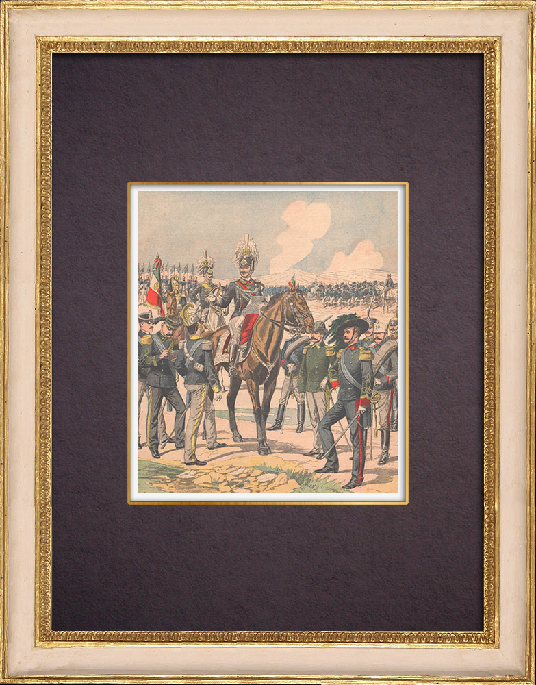 Gravures Anciennes & Dessins   Victor-Emmanuel III d'Italie et son Etat-major - 1903   Gravure sur bois   1903