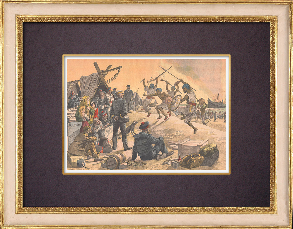 Antique Prints & Drawings   Shipwreck of Amiral-Gueydon on the coast of Africa - 1903   Wood engraving   1903