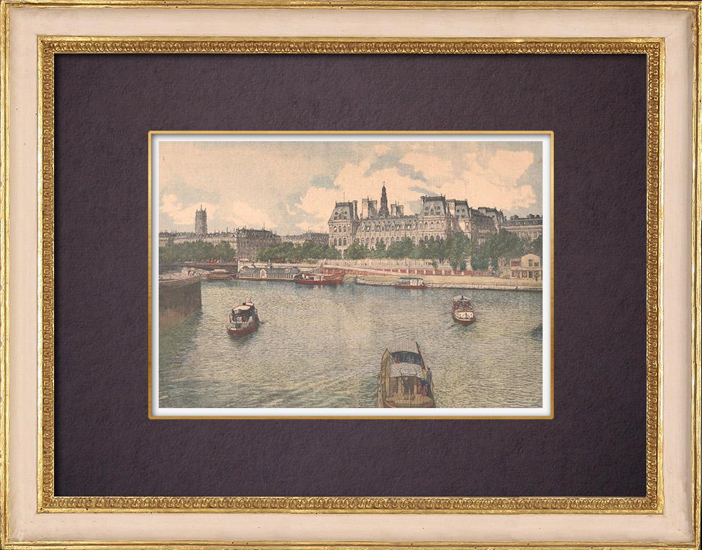 Gravures Anciennes & Dessins | L'Hôtel de ville de Paris et la Seine - 1903 | Gravure sur bois | 1903
