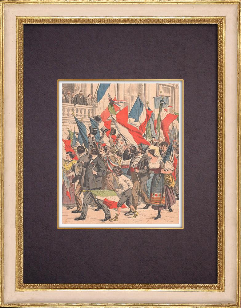 Gravures Anciennes & Dessins | Cortège en l'honneur de la France devant le Palais Farnèse - Rome - 1903 | Gravure sur bois | 1903