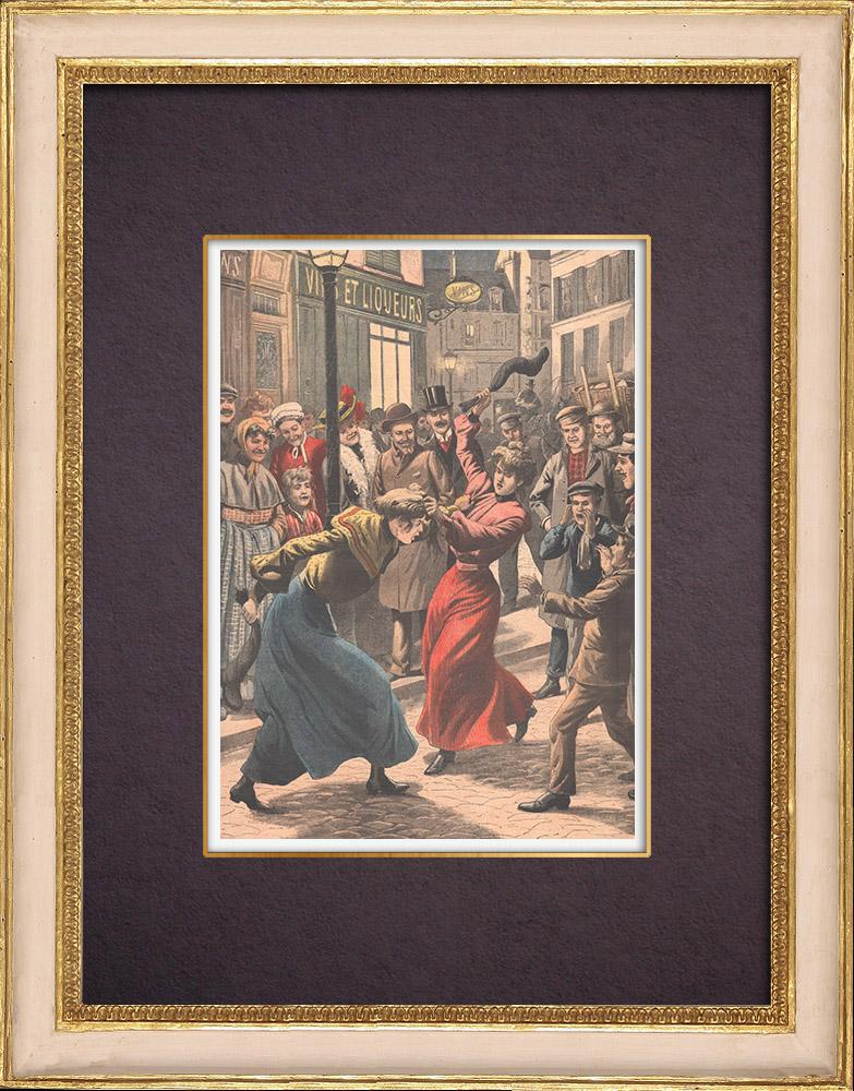 Gravures Anciennes & Dessins | Combat entre femmes à Paris - 1903 | Gravure sur bois | 1903