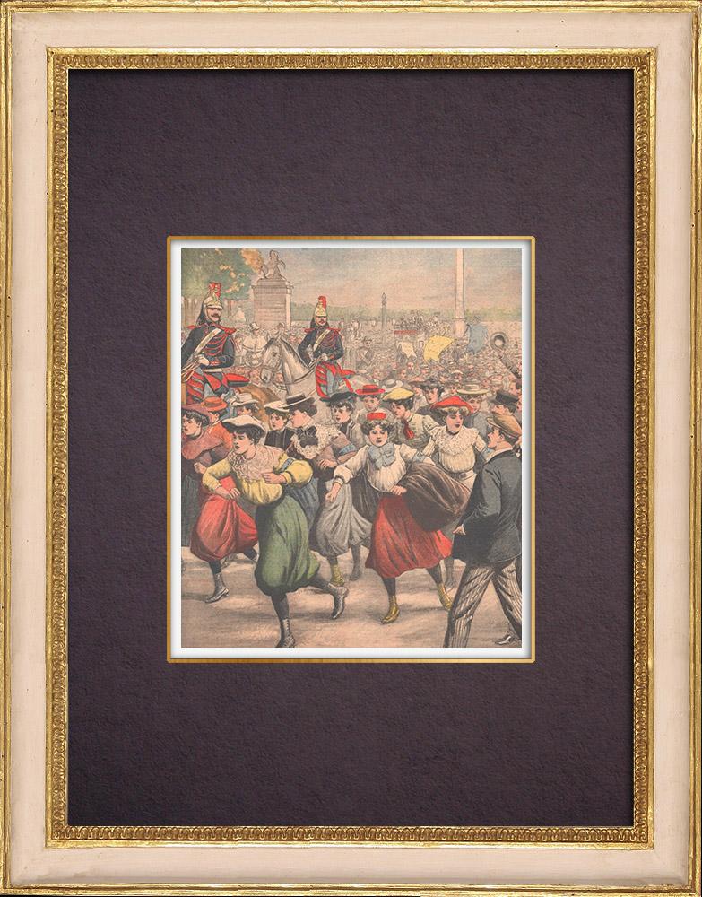 Antique Prints & Drawings   Midinettes race from Place de la Concorde to the Arc de Triomphe - Paris - 1903   Wood engraving   1903