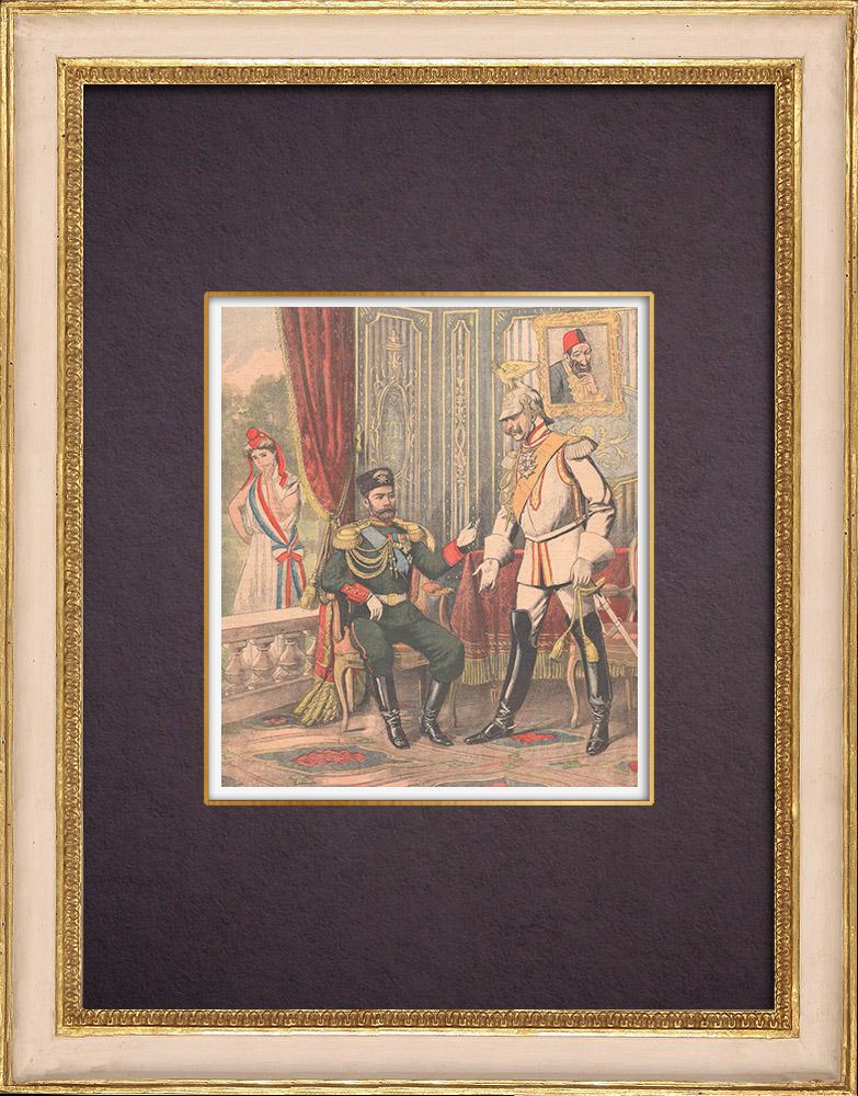 Antique Prints & Drawings | Meeting between Nicholas II of Russia and Wilhelm II of Germany - Wiesbaden - 1903 | Wood engraving | 1903