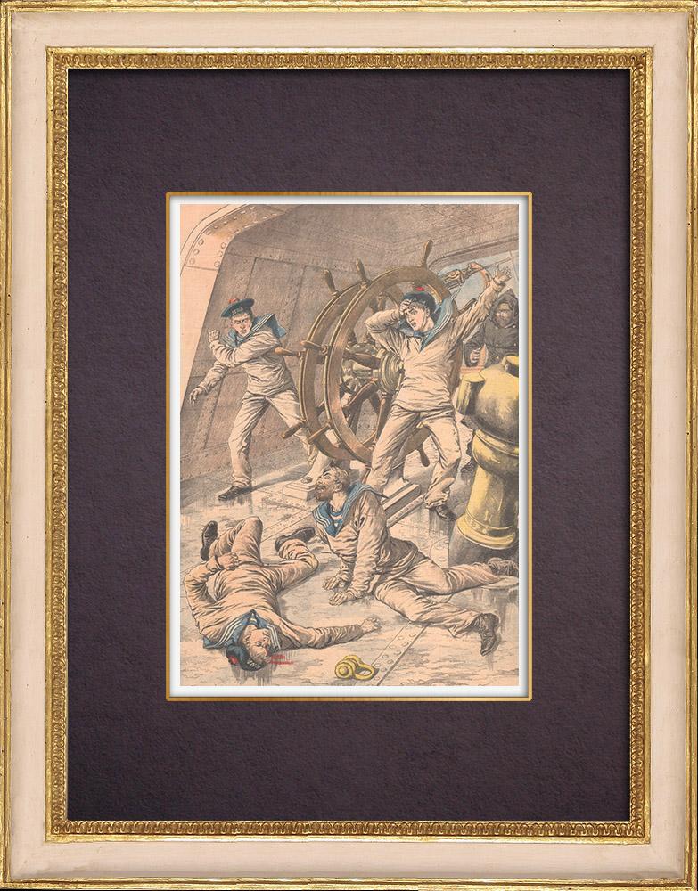 Grabados & Dibujos Antiguos | Accidente a bordo de Iéna en el Mediterráneo - 1903 | Grabado xilográfico | 1903