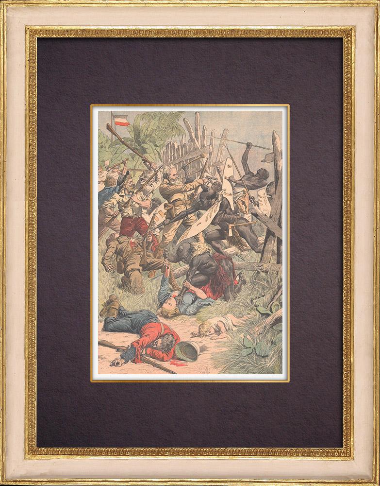 Gravures Anciennes & Dessins   Massacre d'un régiment allemand par les indigènes - Sud-Ouest africain allemand - 1903   Gravure sur bois   1903