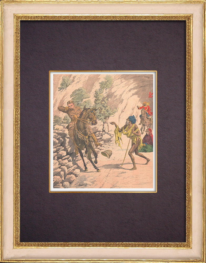 Gravures Anciennes & Dessins | Accident de cheval de Lord Kitchener - Shimla - Indes Anglaises - 1903 | Gravure sur bois | 1903