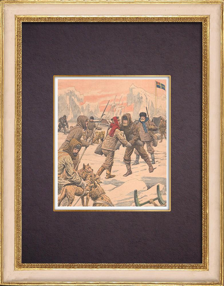 Gravures Anciennes & Dessins | Terre Louis-Philippe - Péninsule Antarctique - Otto Nordenskjöld retrouvé - 1903 | Gravure sur bois | 1903