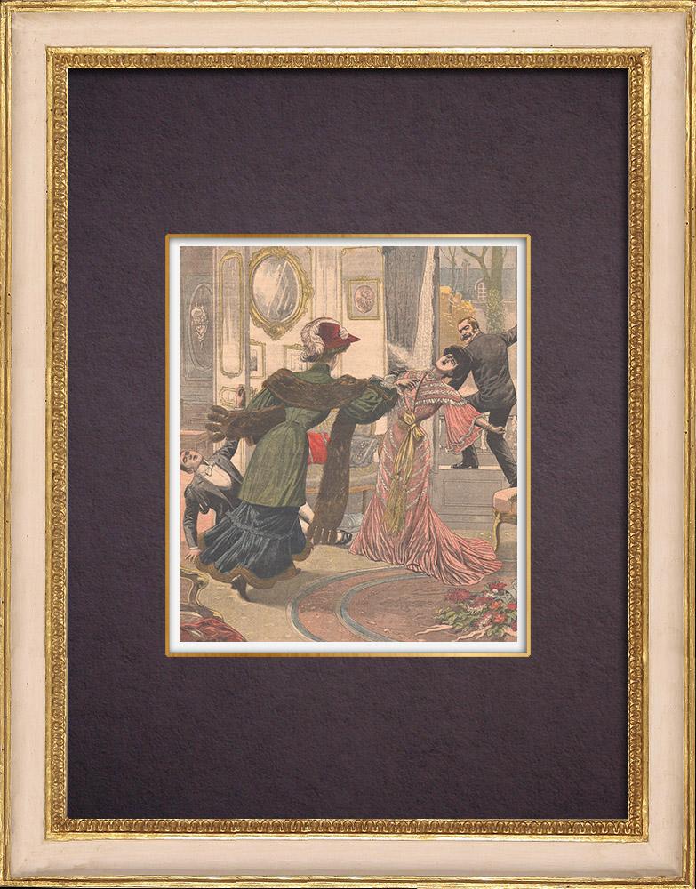Gravures Anciennes & Dessins   Élisabeth-Marie d'Autriche meurtrière par vengeance - Prague - 1903   Gravure sur bois   1903