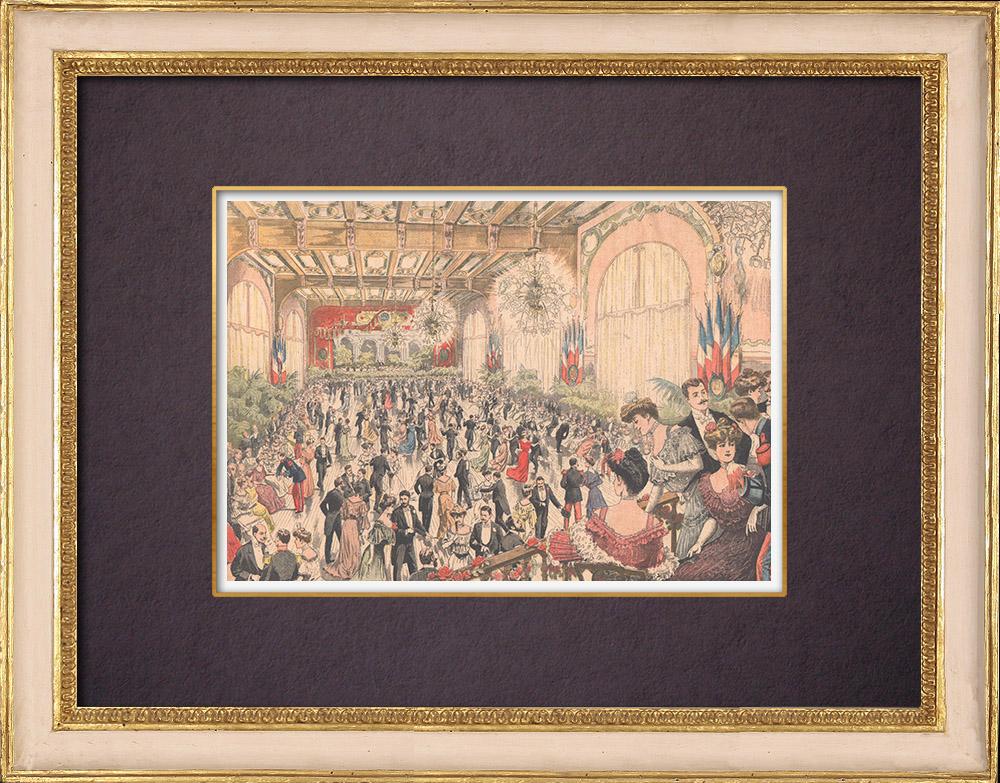 Gravures Anciennes & Dessins | Soirée dansante - Grande Salle de Réunion du Petit Journal - Paris - 1903 | Gravure sur bois | 1903