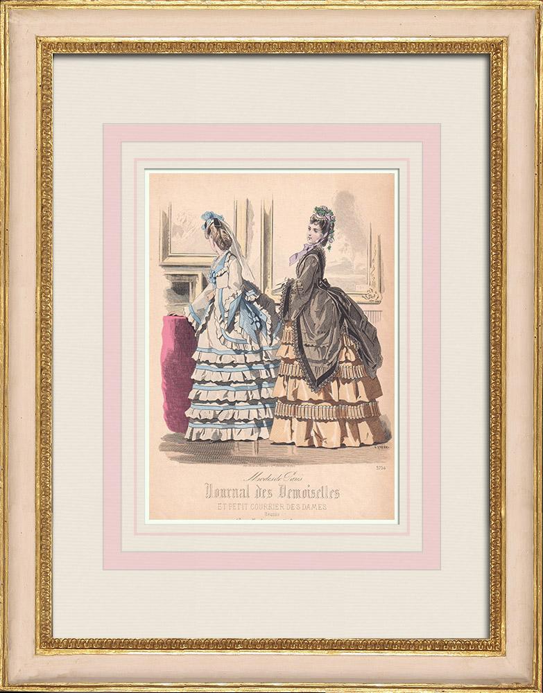 Gravures Anciennes & Dessins | Gravure de Mode - Paris - Maison Deschamps - Mme Bricard - Mme Leoty - Maison Guerlain | Taille-douce | 1855