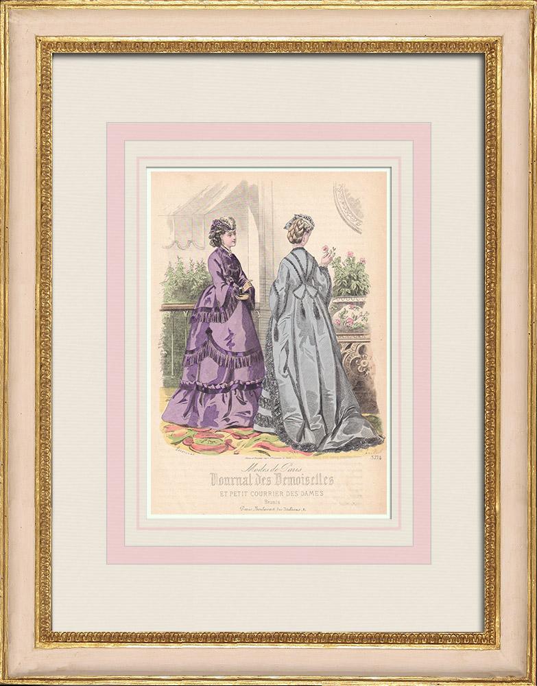 Gravures Anciennes & Dessins | Gravure de Mode - Paris - Mme Laure - Mme de plument | Taille-douce | 1855