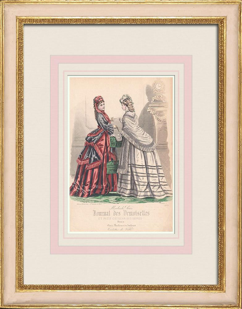 Grabados & Dibujos Antiguos | Grabado de Moda - París - Grande Maison de Blanc | Grabado en talla dulce | 1855