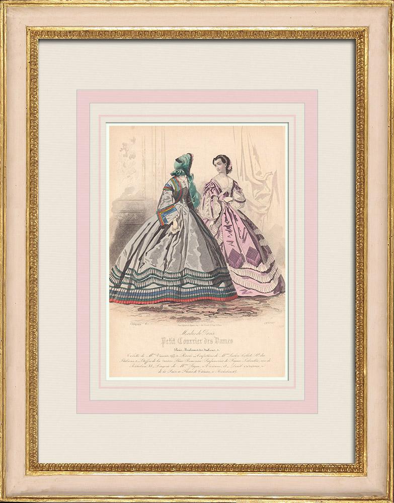 Gravures Anciennes & Dessins | Gravure de Mode - Paris - Mme Vasseur - Mme Payan | Taille-douce | 1855
