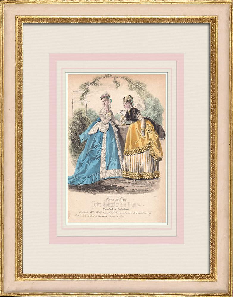 Gravures Anciennes & Dessins | Gravure de Mode - Paris - Mme Mallard | Taille-douce | 1855