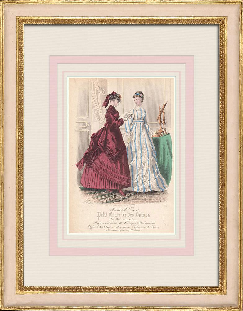 Antique Prints & Drawings | Fashion Plate - Paris - Mme Bérengere | Intaglio print | 1855