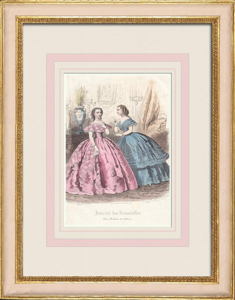 Antique Prints & Drawings | Fashion Plate - Paris - Robes Roses et Bleues | Intaglio print | 1857