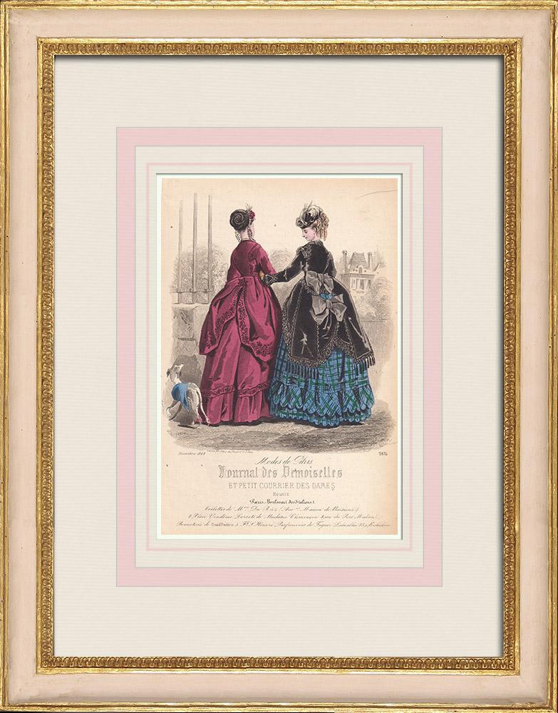 Gravures Anciennes & Dessins | Gravure de Mode - Paris - Mme du Riez  - Maison de Baisieux | Taille-douce | 1855