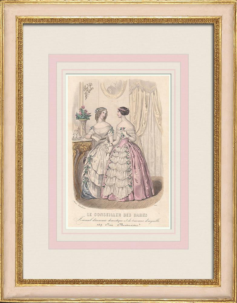 Grabados & Dibujos Antiguos | Grabado de Moda - París - Anaïs Toudouze | Grabado en talla dulce | 1855