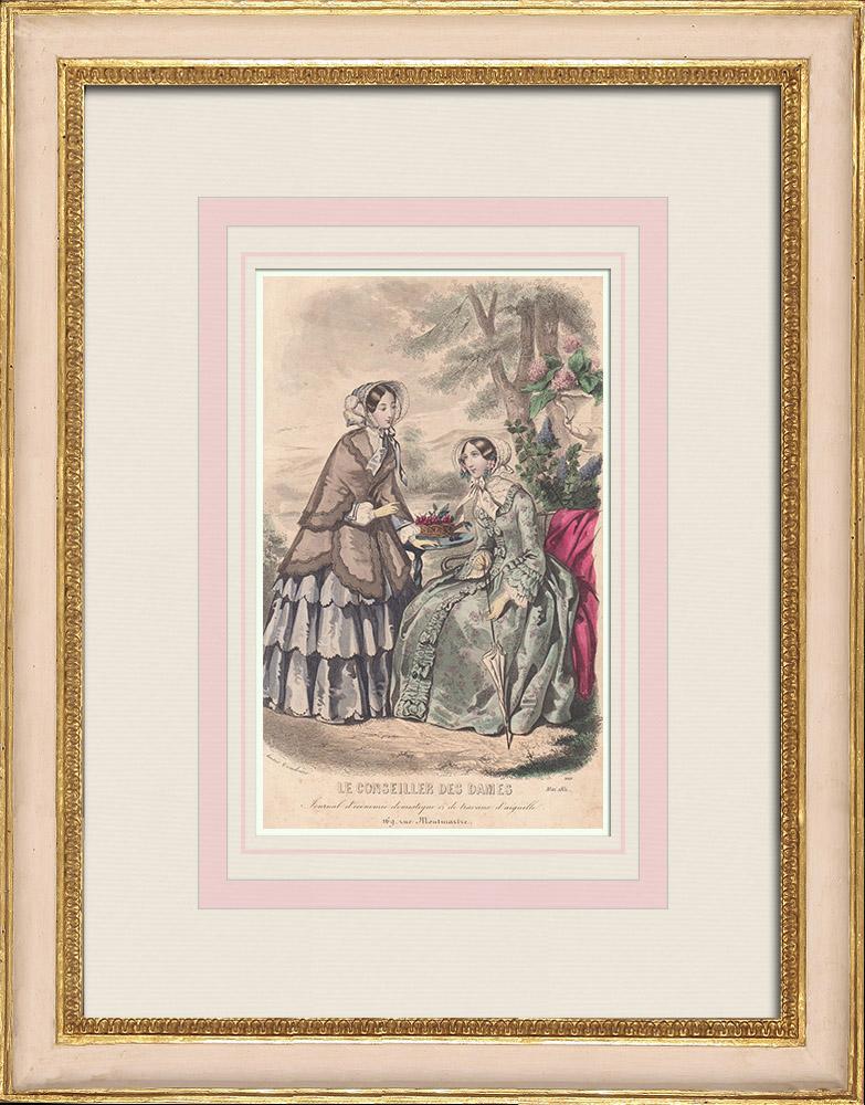 Antique Prints & Drawings   Fashion Plate - Paris - 1851 - Anaïs Toudouze   Intaglio print   1851