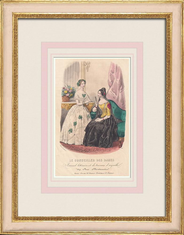 Gravures Anciennes & Dessins | Gravure de Mode - Paris - Anaïs Toudouze - 169 Rue Montmartre - Paris | Taille-douce | 1855