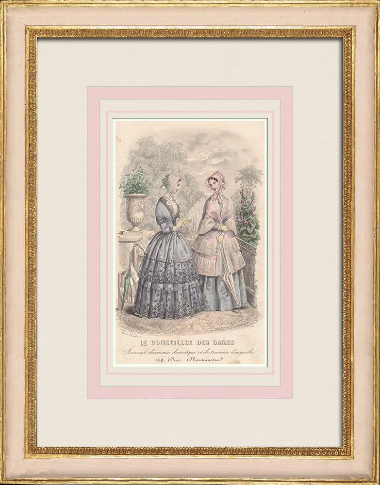 Antique Prints & Drawings | Fashion Plate - Paris - Le Conseiller des Dames - Anaïs Toudouze | Intaglio print | 1855