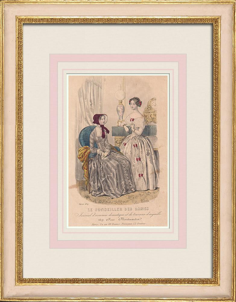 Gravures Anciennes & Dessins   Gravure de Mode - Paris - 1849 - Le Conseiller des Dames - 169 Rue Montmartre   Taille-douce   1849