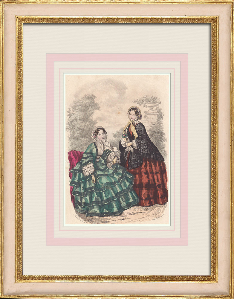 Antique Prints & Drawings | Fashion Plate - Paris - Mai 1855 - Le Conseiller des Dames et des Demoiselles - 159 Rue Montmartre | Intaglio print | 1855