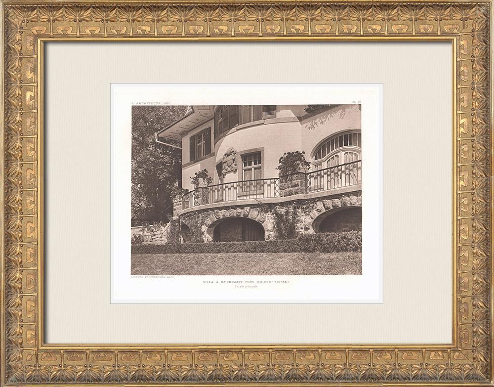 Antique Prints & Drawings | Villa in Baechimatt near Thun - Façade - Switzerland (Lanzrein & Meyerhofer) | Heliogravure | 1911