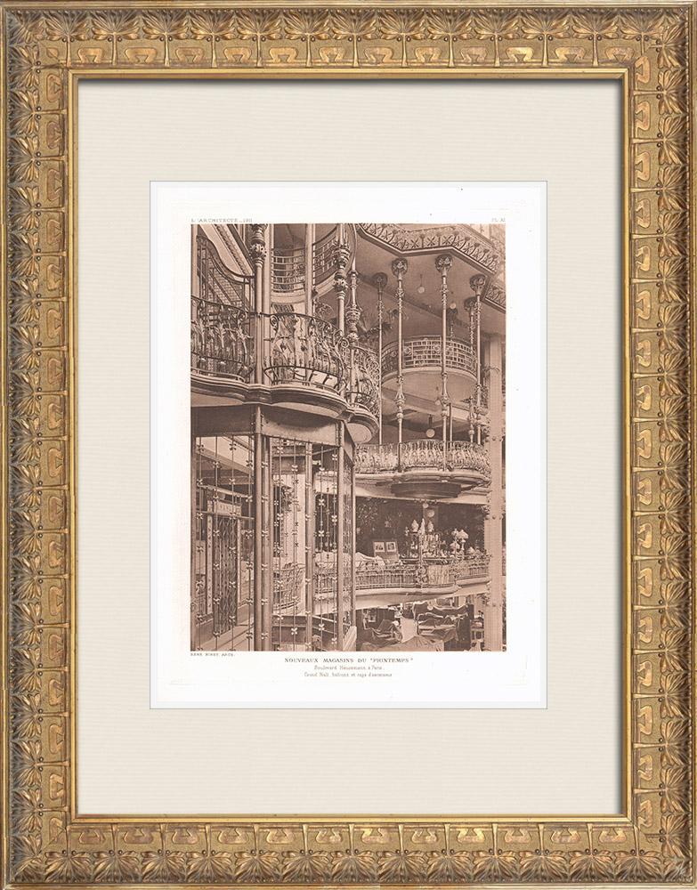 Gravures Anciennes & Dessins | Nouveaux Magasins du Printemps à Paris - Intérieur (René Binet, architecte) | Héliogravure | 1911