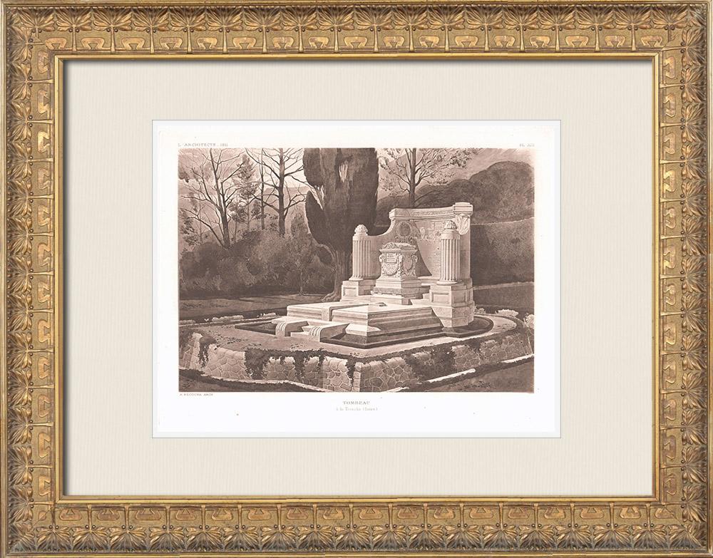 Antique Prints & Drawings | A tomb in La Tronche - Isère - Rhône-Alpes (Alfred Recoura) | Heliogravure | 1911
