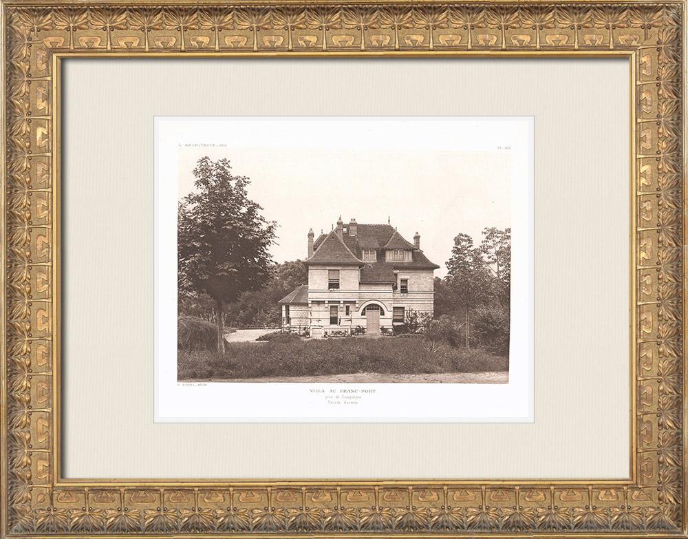 Antique Prints & Drawings | Villa in lieu-dit Franc-Port close to Compiègne - Oise (Louis Sorel) | Heliogravure | 1911