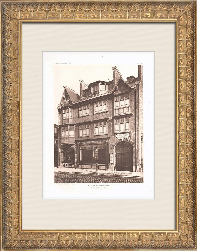 Antique Prints & Drawings | A shop - Quai de la Râpée in Paris (J. Charlet & F. Perrin) | Heliogravure | 1911