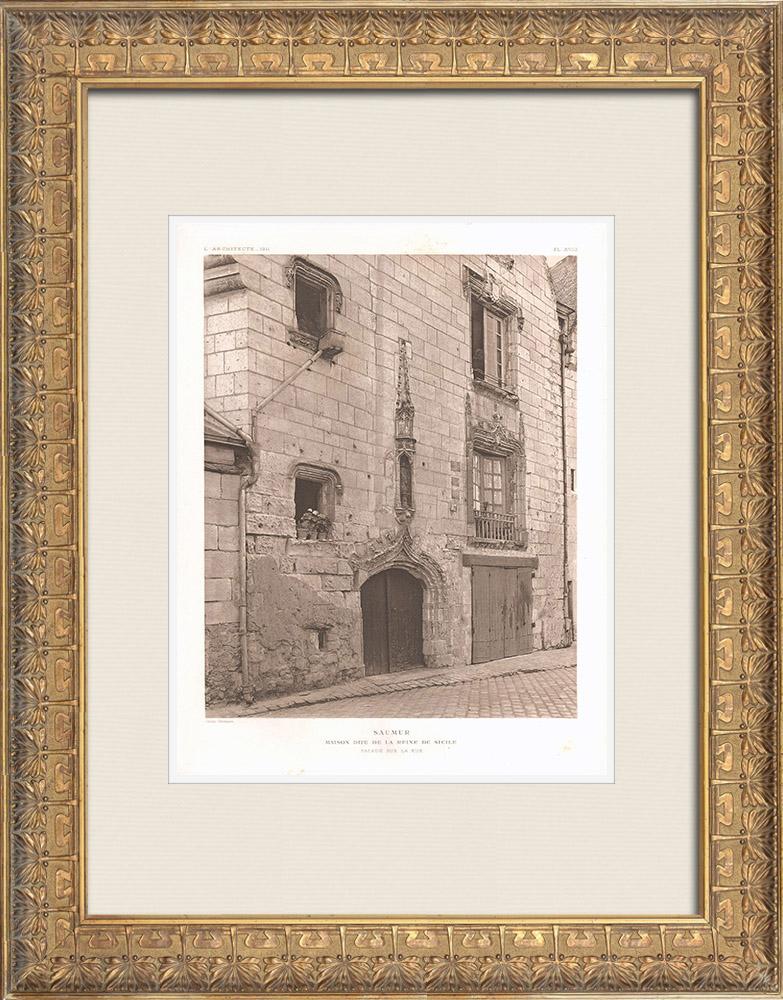 Grabados & Dibujos Antiguos   Casa - Maison de la Reine de Sicile en Saumur - Maine-et-Loire - Francia   Heliograbado   1911