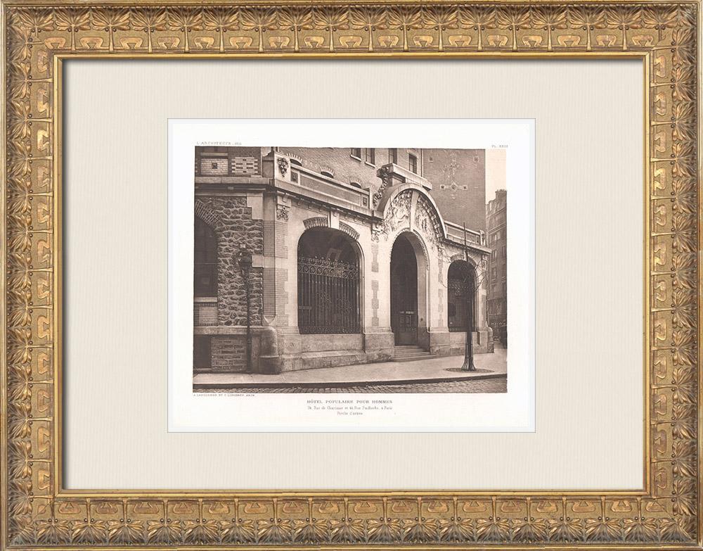 Grabados & Dibujos Antiguos | Hôtel pour hommes célibataires - Palais de la Femme - Porche - Paris (Labussière & Longerey) | Heliograbado | 1911