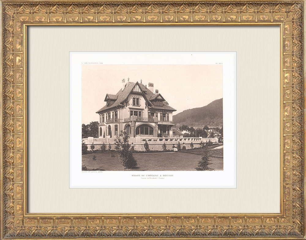 Antique Prints & Drawings | Country house in Môtiers - Canton of Neuchâtel - Switzerland (Prince & Beguin) | Heliogravure | 1911