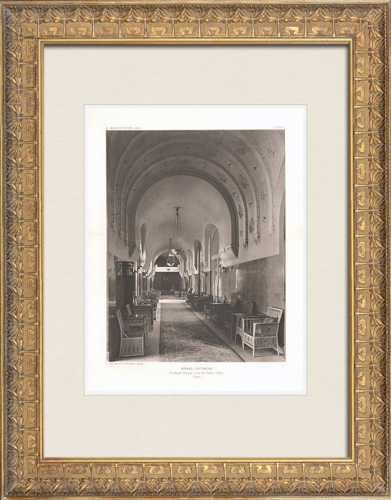 Antique Prints & Drawings | Hôtel Lutetia - Long gallery - 6th Arrondissement of Paris (Boileau & Tauzin) | Heliogravure | 1911