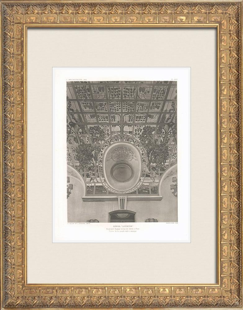 Gravures Anciennes & Dessins | Hôtel Lutetia - Art Nouveau - 6ème Arrondissement de Paris (Boileau & Tauzin, architectes) | Héliogravure | 1911