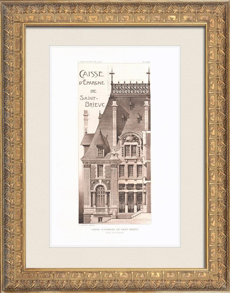 Gravures Anciennes & Dessins | Caisse d'Epargne de Saint-Brieuc - Bretagne (Georges Lefort, architecte) | Héliogravure | 1911