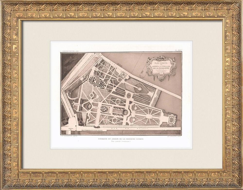 Antique Prints & Drawings | Pavillon La Bouëxière - Folly - Plan - 9th Arrondissement of Paris (Le Carpentier) | Heliogravure | 1911