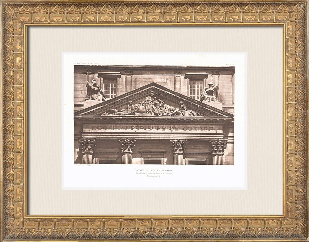 Gravures Anciennes & Dessins | Ecole Militaire - Champ-de-Mars - Fronton - Cour d'honneur (Ange-Jacques Gabriel, architecte) | Héliogravure | 1911