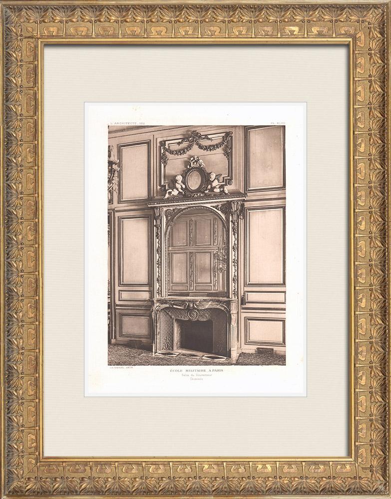 Antique Prints & Drawings | Ecole Militaire - Champ-de-Mars - Hearth (Ange-Jacques Gabriel) | Heliogravure | 1911