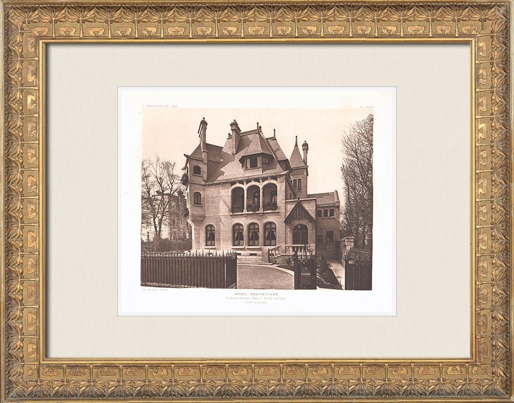 Antique Prints & Drawings   Hôtel particulier - House in Neuilly-sur-Seine - Île-de-France (Charles Plumet)   Heliogravure   1911