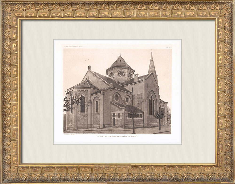 Antique Prints & Drawings | Church of Coulommiers - Seine-et-Marne (Ernest Brunet) | Heliogravure | 1911