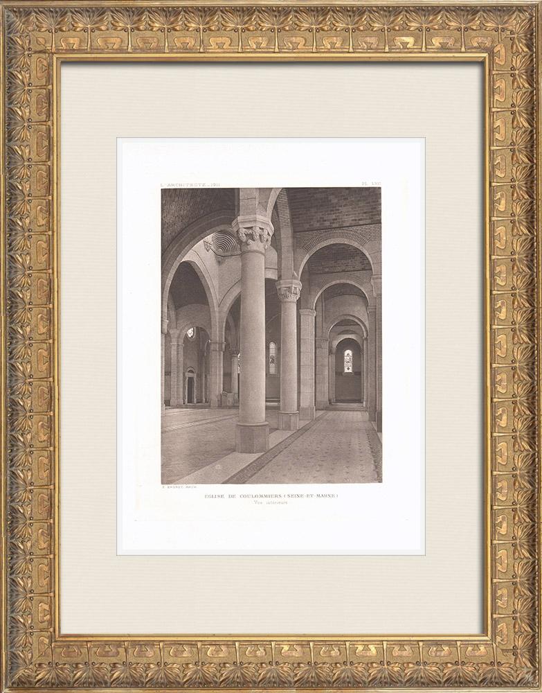 Gravures Anciennes & Dessins | Église St-Denys-Ste-Foy de Coulommiers - Intérieur - Seine-et-Marne (Ernest Brunet, architecte) | Héliogravure | 1911