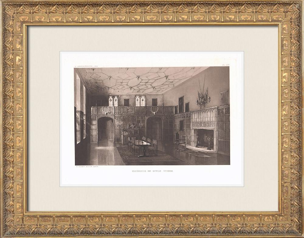 Grabados & Dibujos Antiguos | Interior de casa de estilo Tudor (Murray Adams-Acton) | Heliograbado | 1911