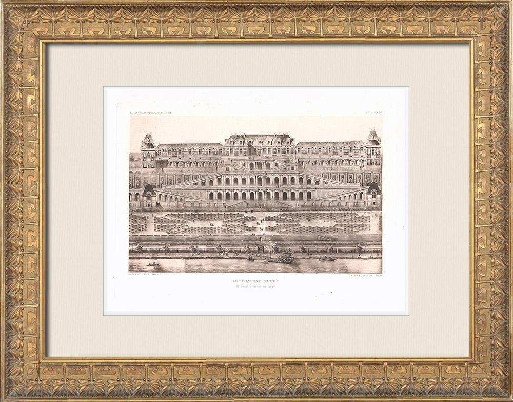 Grabados & Dibujos Antiguos | Palacio Nuevo de Saint-Germain-en-Laye - Isla de Francia (Guillaume Marchant) | Heliograbado | 1911