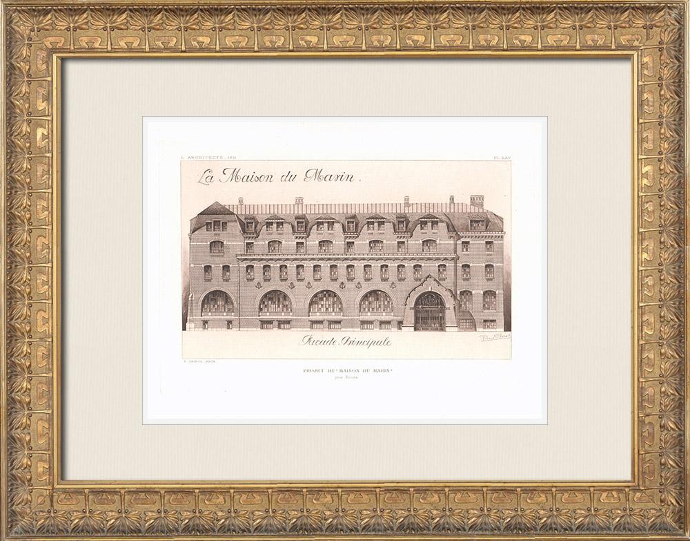 Antique Prints & Drawings | Maison du Marin - Project - Rouen - Seine-Maritime (Pierre Chirol) | Heliogravure | 1911